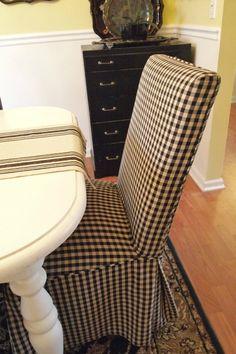 black & cream checked parsons chair {ACultivatedNest.Com}