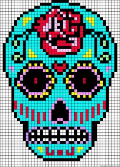 """sugar skull perler bead patterns"" - Bing Images. Several,different versions available."