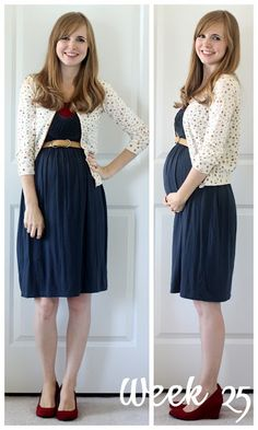 I'm not prego, but this is a cute outfit! Navy dress, white cardi, dark red wedges