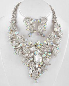 Bridal Crystal AB & Glass Facet Stone Leaf Design Fashion Necklace Set #FashionJewelry#bridal jewelry