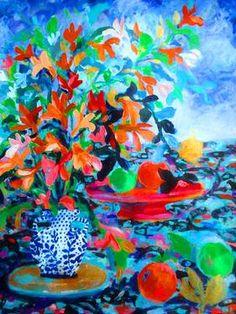 "Saatchi Art Artist Nada  Sucur Jovanovic; Painting, ""Orange flower and oranges"" #art"