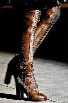 Givenchy - Over the Knee Lace Up Brown Leather Boots