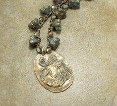 Delicate Mermaid Necklace Bronze Blue Floral by singingcatstudio, $64.00