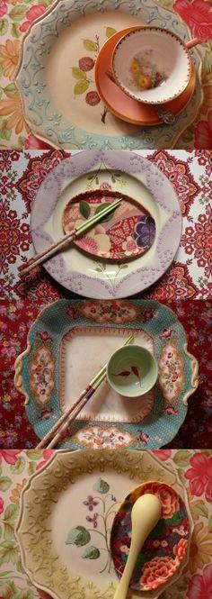 tè e piattini Piatti Set di 2 ROSLYN Cina floreale Trio tazze da tè