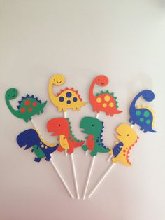 12 Dinosaur Cupcake Toppers Dinosaur Party Decor T-Rex