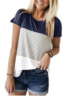 Short Sleeve Navy Blue Triple Color Block Stripe T-shirt