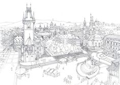 Pen and ink drawing showing a view of Prague from the Church of Our Lady before Týn