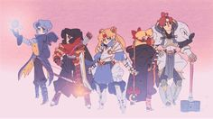 Sailor Moon gifs turned into a D&D adventure party