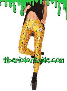 ADVENTURE TIME JAKE THE DOG LEGGINGS  Leggings con el personaje de la serie Hora de Aventuras (Adventure Time): Jake el Perro, de color amarillo, en varias posturas y tamaños. Impresión digital. Cinturilla elástica. Materiales: polyester y spandex.  COLOR: AMARILLO TALLA: ÚNICA  ÚNICA - vale para tallas 36 a 42 LARGO - 98 cm    DE LA MISMA COLECCIÓN