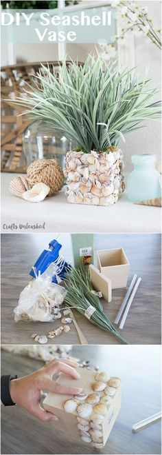 Shell DIY Make Your Own Seashell Vase Consumer Crafts is part of Shells diy - I love incorporating seashells into my home for those warm summer months and this shell DIY vase couldn't be easier to put together! Seashell Art, Seashell Crafts, Beach Crafts, Diy And Crafts, Crafts For Kids, Arts And Crafts, Crafts With Seashells, Diy Gifts With Shells, Decorating With Seashells