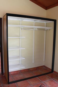 This picture shows the caucus and the elfa shelving. Wardrobe Room, Closet Bedroom, Sliding Wardrobe Doors, Sliding Door, Small Master Closet, Elfa Shelving, Closet Layout, Wardrobe Design, Closet Designs