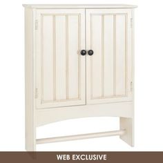 white wood wall storage cabinet