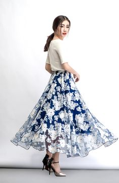 2015 New Blue Long skirts C473 by YL1dress on Etsy