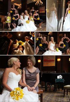 Bridal Party Pictures, black bridesmaid dresses, yellow flowers, bridal party pose ideas