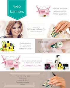 Web banners for website about nails, techniques, classes and dedicated products. Web Banners, Creative Design, Website, Nails, Finger Nails, Ongles, Nail, Nail Manicure