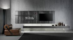 Wohnwand - Acryl Elemente, Wandplatte in Steinoptik und Low Board in Hochglanz