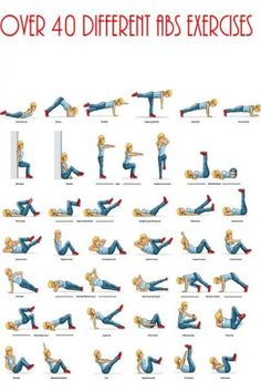 200 ab exercises. OMG!! I get so bored with abs sometimes and often stick to the same types of exercises, this chart is great to remind me of other ways to do abs.