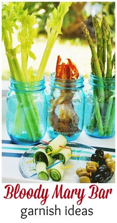 Garnish ideas for your Bloody Mary Bar. Party details here http://www.momtrends.com/2014/07/bagels-and-bloody-mary-bar-party/