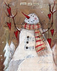 Merry and White, Fine Art Print (Giclée Print).  You are purchasing a reproduction of my original mixed media painting. Find coordinating