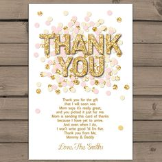 Baby shower Thank you cards Pink Gold confetti Baby Shower