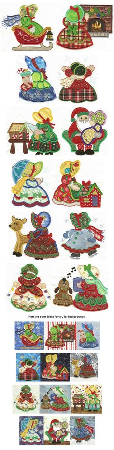 Christmas Sunbonnet Sue - Vintage Redwork - Machine Embroidery designs at Splinters & Threads Embroidery Patterns Free, Sewing Appliques, Machine Embroidery Designs, Quilt Patterns, Paper Embroidery, Christmas Applique, Christmas Sewing, Sunbonnet Sue, Quilting Projects