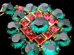 Victorian Lavalier Pink Emerald Green Glass Rhinestone Pendant Gold Filled | eBay