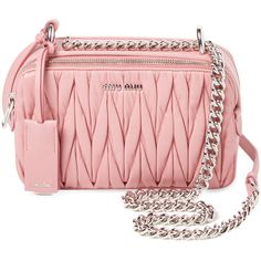 Miu Miu Women's Small Matelass Leather Crossbody - Pink (£705) ❤ liked on Polyvore featuring bags, handbags, shoulder bags, pink, leather crossbody, crossbody handbags, leather handbags, crossbody shoulder bag and red shoulder bag