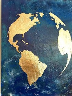 Gold leaf map of the world with ocean background by 10kiaatstreet - Art Design - Map