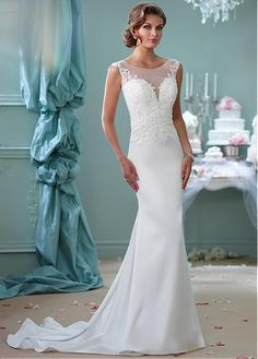 Graceful Tulle & Satin Bateau Neckline Mermaid Wedding Dresses with Beaded Lace Appliques