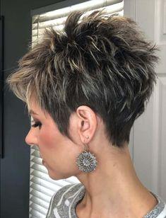Pixie Haircut For Thick Hair, Short Hair Older Women, Short Choppy Hair, Funky Short Hair, Super Short Hair, Short Thin Hair, Short Hair With Layers, Short Stacked Wedge Haircut, Choppy Pixie Cut