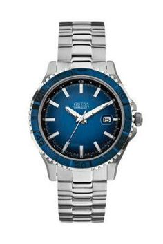 cb830414c  GUESS Designer Pick  Blue and Silver-Tone Masculine Sport Watch Sport  Watches