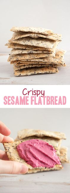 This crispy Sesame Flatbread is my favorite snack for breakfast. It's so yummy with some hummus or really any spread. It's yeast-free and vegan! Healthy Vegan Snacks, Vegan Appetizers, Delicious Vegan Recipes, Vegan Foods, Vegan Dishes, Vegan Desserts, Snack Recipes, Cooking Recipes, Naan
