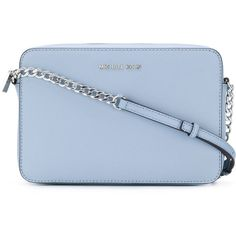 Michael Michael Kors Saffiano Leather Crossbody Bag (925 RON) ❤ liked on Polyvore featuring bags, handbags, shoulder bags, purses, blue, blue crossbody, light blue purse, hand bags, shoulder strap handbags and handbags crossbody