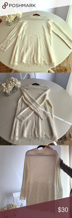 New English Factory lace sweater dress size S New never worn white sweater dress with beautiful lace trim detail. Tags just ripped off. Nice warm stretchy material. Size s. By English factory retails for $85 selling cheap or best offer English Factory Dresses Mini
