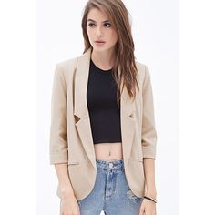 Beige Open Front Rolled Cuff Chic Blazer ($37) ❤ liked on Polyvore featuring outerwear, jackets, blazers, beige, open front blazer, 3/4 sleeve jacket, three quarter sleeve blazer, open front jacket and beige jacket