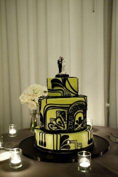 Art Deco Green & Black Wedding Cake by angelica