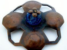 Vintage Copper Square Flower Brooch Blue Crystal Bead Pin via Etsy