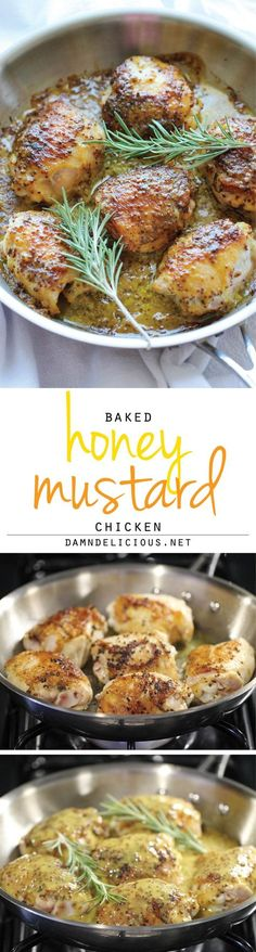 Baked Honey Mustard Chicken - The creamiest honey mustard chicken ever! It's so good, you'll want to eat the mustard itself with a spoon!