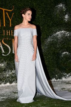 Emma Watson: The 26-year-old actress looked like a real-life princess as she posed alongside her handsome co-star during the premiere of Disney's live-action film at the Spencer House in London, England. Watson was dressed in an elegant light blue Emilia Wickstead gown, complete with a cape and long train. Letting the dress do all the talking, she kept her accessories simple and swept up her hair into a braided crown.