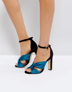Office Hydro Knot Heeled Sandals - Green
