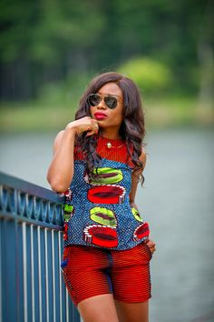 JADORE-FASHION: Those shorts are fire!! Love that Ankara styled fabric!