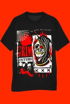 GRIM FUTURE TEE - With a badass grim reaper on the front. Small font ready NO HOPE NO FUTURE If there's anyone you need to stay friends with, it's Mr. Grim Reaper himself. Might as well worship him on a shirt while you still can. BLACK - Limited edition logo tee 100% Cotton. Machine washable. Do not tumble dry. Made in the USA Size guide S M L XL 2XL Length (inches) 28 29 30 31 32 Width (inches) 18 20 22 24 26 Clothing Co, Supreme Clothing, Clothing Ideas, Pastel Tops, Tattoo T Shirts, Tattoos, T Shirt World, Tee Shirt Designs, T Shirt And Shorts