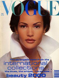 March 1992        Editor Elizabeth Tilberis      Cover David Bailey        Model wears silk organza shirt, £470 from Polo Ralph Lauren. Hair: Guido for Toni & Guy. Make-up: Miranda Joyce.