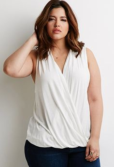 Twist-Front Lace-Paneled Top | Forever 21 PLUS - 2000134309