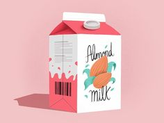 Almond Milk by Philipa Rabbit Milk Packaging, Beverage Packaging, Milk Art, Advertising Logo, Almond Milk, Rabbit, Social Media, Illustrations, Vegan