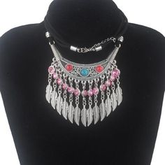 73d44d36f6c 12 style statement bohemian power necklaces pendant birthstone and leaf  silver plated rope chain necklace fine jewelry XY160007