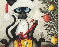 Siamese Cat Snowballs Art Prints by Bihrle ck387 от AmyLynBihrle