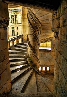 Escalera del castillo de Chambord (Francia). Atribuida a Leonardo Da Vinci