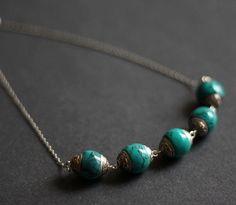 Chunky vintage style turquoise necklace by CataliaCreations, $18.00