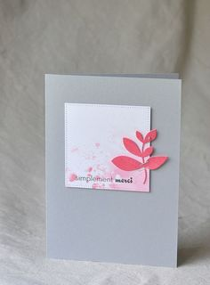 handmade greeting card ... mod graphic look ... clean and simple  ... dove gray base ... pink and white ...